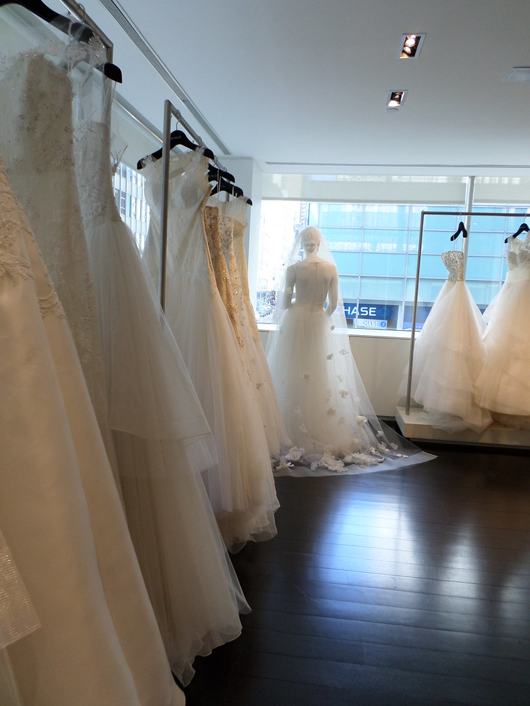 Kenneth Pool Wedding dresses at Amsale Salon in New York.