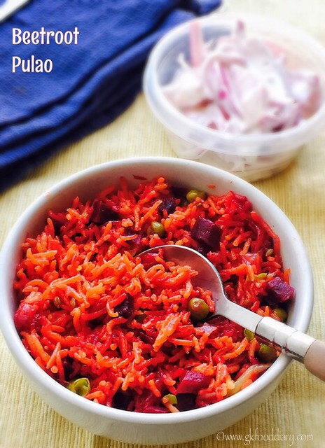 Beetroot Pulao Recipe for Babies, Toddlers and Kids5