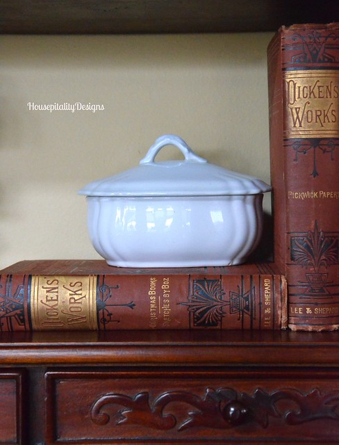 Ironstone and Antique Charles Dickens books - Housepitality Designs