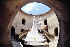 Hijab outdoor prewedding photo for Sulis & Aidil at Tamansari Yogyakarta. Foto pre wedding by @poetrafoto, http://prewedding.poetrafoto.com || thanks @naia_salon for makeup+wardrobe👍😊