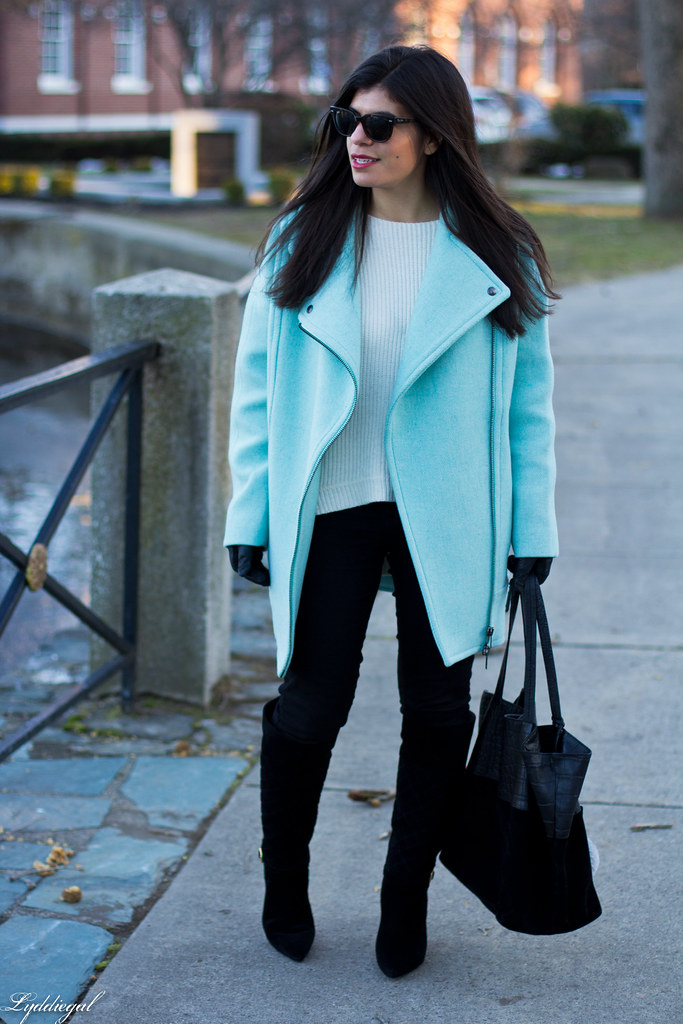 mint cocoon coat, black jeans, white sweater, black boots.jpg