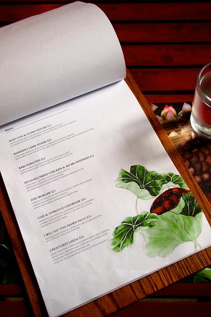 Menu, CreatureS Cafe, Asian Fusion, Desker Road, Little India, Singapore