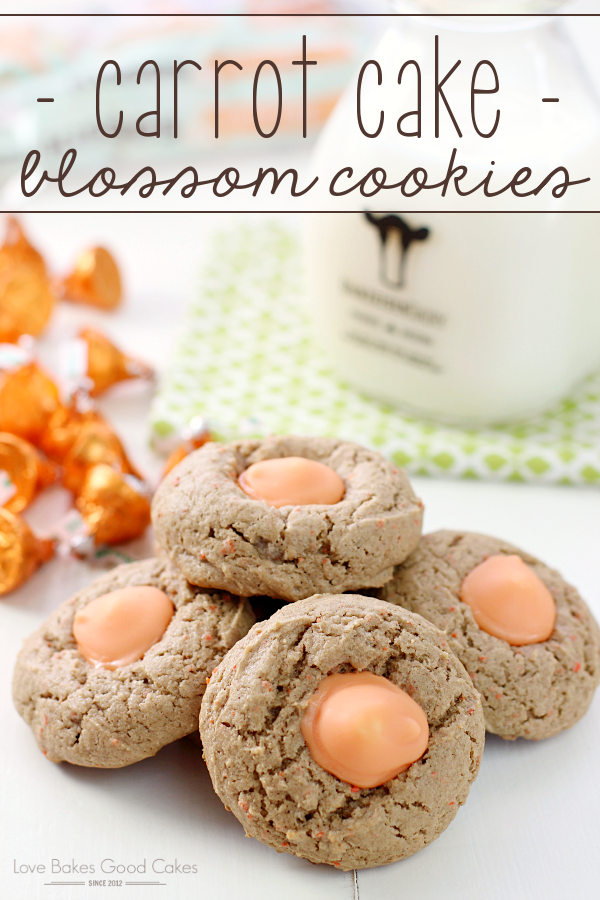 Treat yourself to a favorite spring flavor with these Carrot Cake Blossom Cookies! Carrot Cake flavored cookies with Carrot Cake flavored KISSES!!