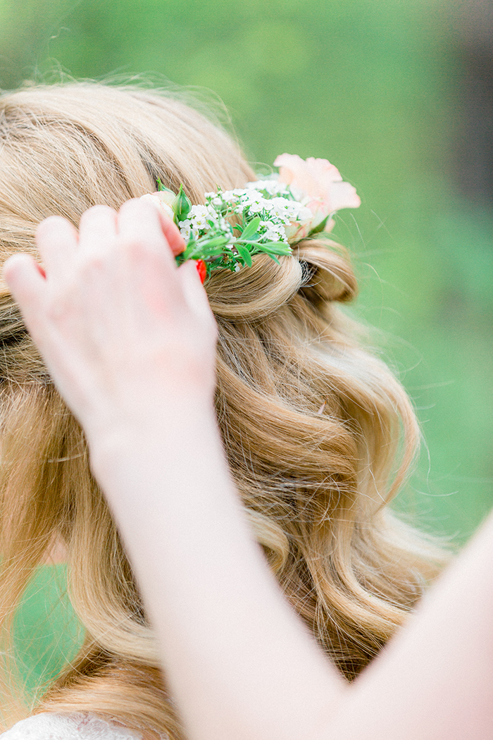 bridal hairstyle for a Romantic Woodland Wedding Inspiration { Soft Peach Tones } | Photo by Igor Kovchegin Photography | Read more on Fab Mood - UK wedding blog