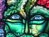 Green Man stained glass window detail