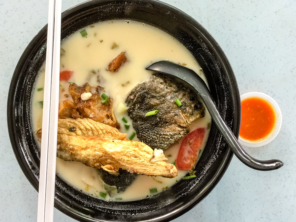 Norway Salmon Fish Head Noodles' Fried Salmon Head with original milky soup