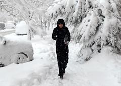 Pedestrian In Snow