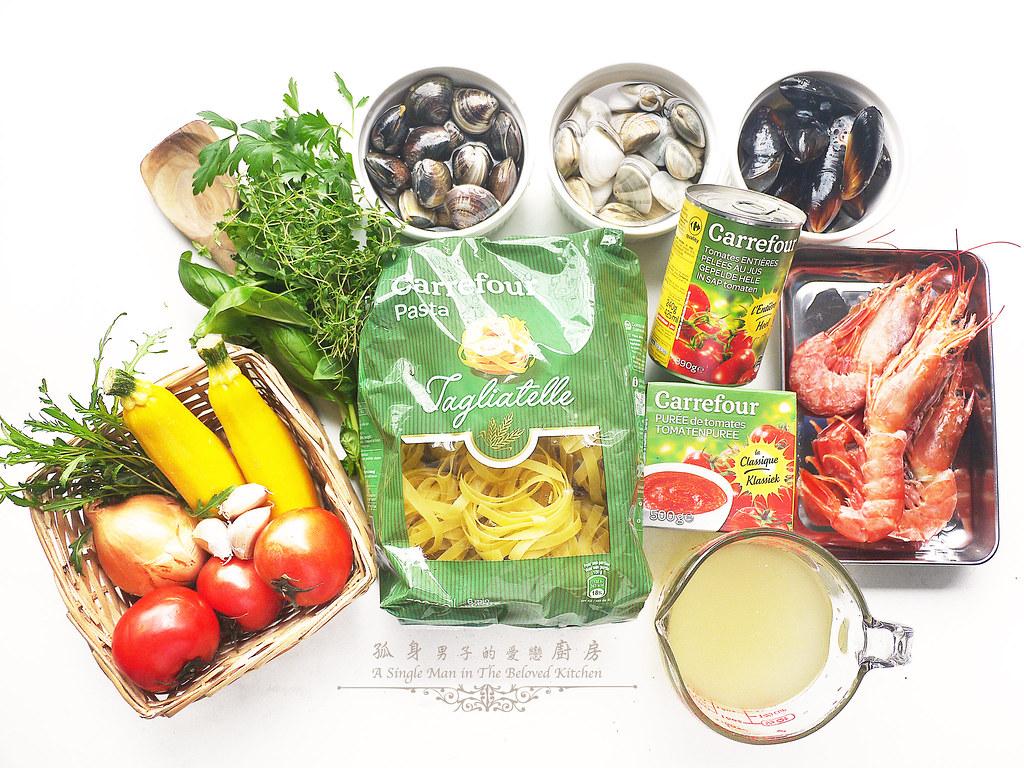孤身廚房-寶迪鍋一鍋到底茄汁綜合貝類義大利麵佐烤天使紅蝦與櫛瓜1
