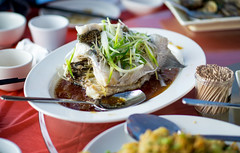 steamed fish at chinese restaurant