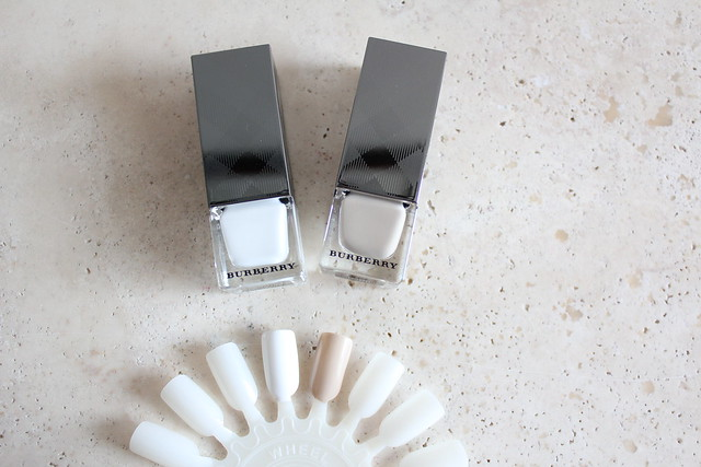 burberry Nail Polish in Optic White No. 440 and Stone No. 104 review and swatches