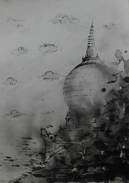 Dewa Gde Suputra, Stupa Pegulingan Dalam Sketsa 42 x 21 cm, Ink on Paper