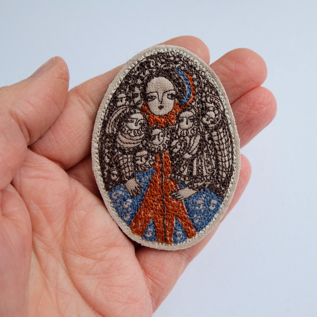 Paris - am embroidery portrait brooch
