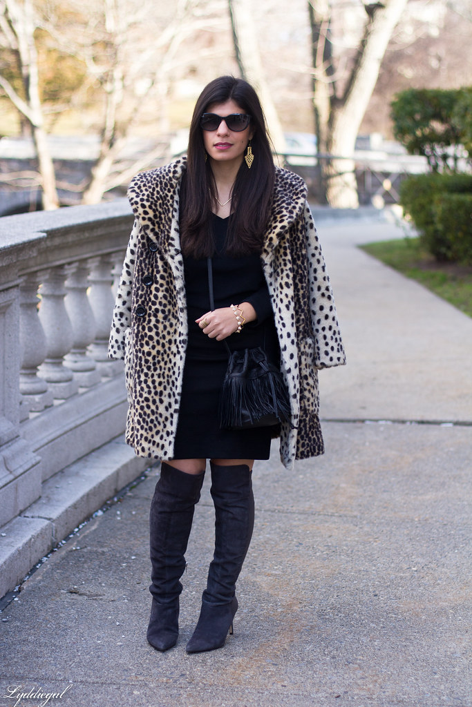 Black skirt, black top, leopard fur coat, over the knee boots-4.jpg