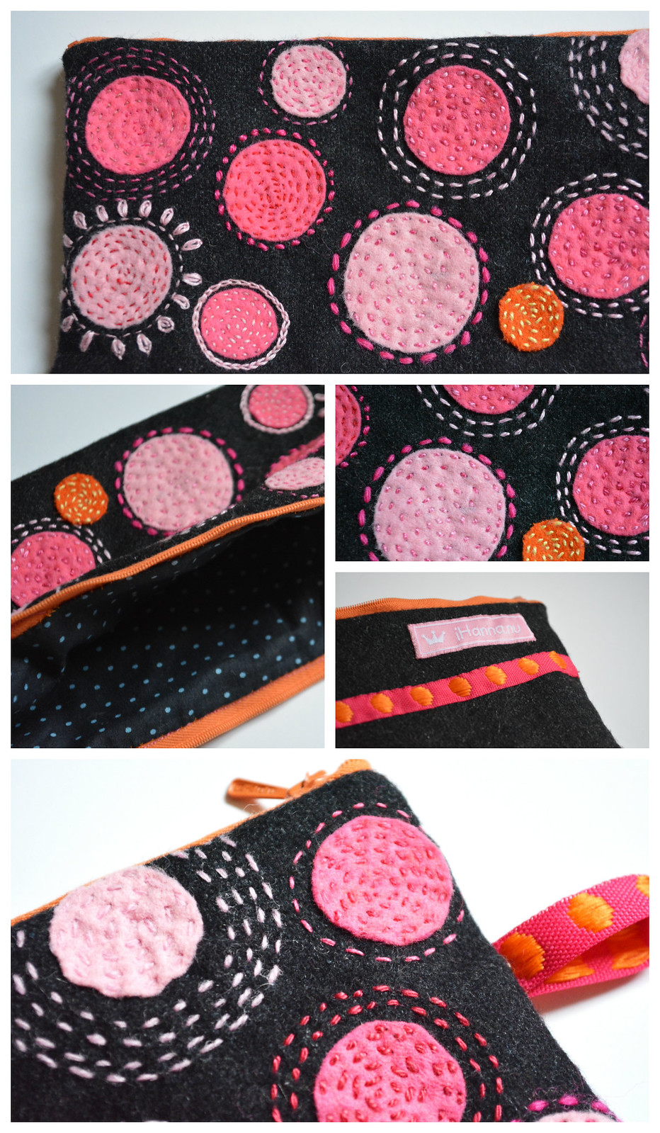 Polka dot details - wool embroidery pen case by iHanna