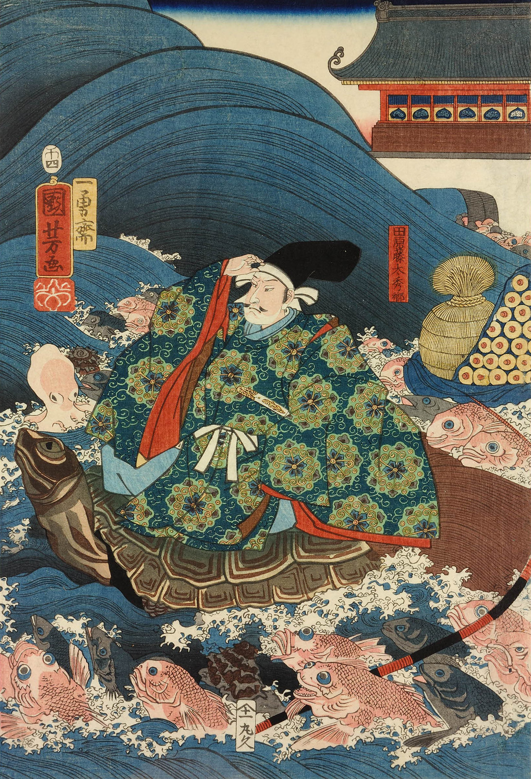 Utagawa Kuniyoshi - Tawara Toda Hidesato escorted through the waves on the back of a giant turtle by the Dragon King's fishy retainers, having received the Three Gifts. 1858 (middle panel)