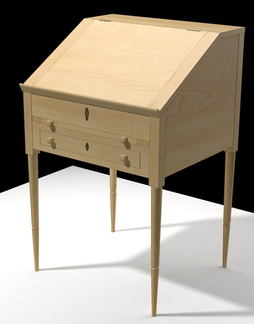slant top writing desk Norm builds a writing desk with a slanted top that is constructed mostly of maple the desk features a shallow drawer, a nest of small drawers, and a open bi.
