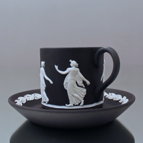 Wedgwood, Jasperware, Mokkatasse, Espressotasse, Tasse, zylindrisch, The Dancing Hours, Jasper, Relief
