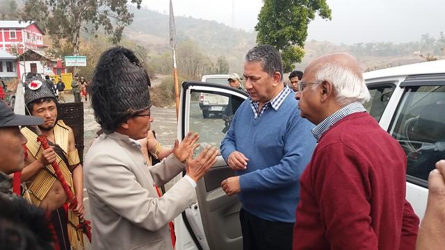 9.12th Feb_Mr. Ramadorai & Mr. Barthakur being greated by Village Head of Ringui, Ukhrul