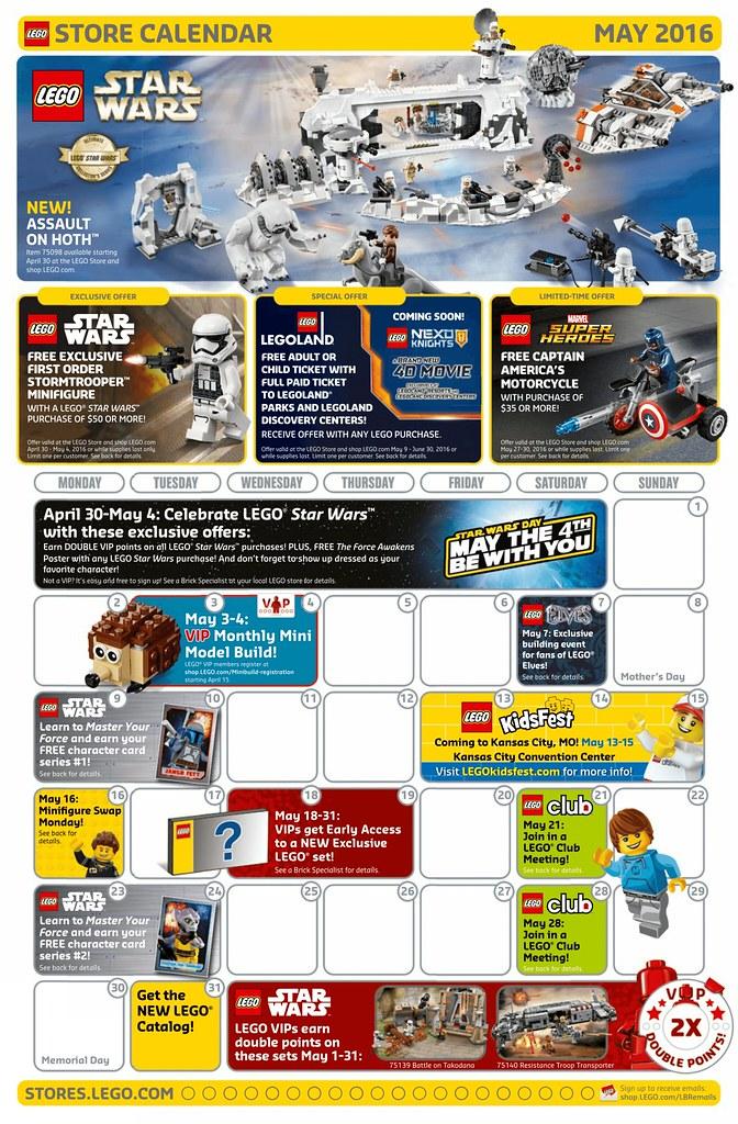 May 2016 LEGO Store Calendar
