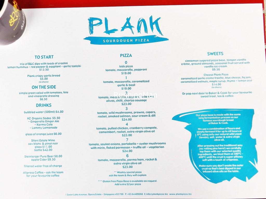 Plank Sourdough Pizza Menu