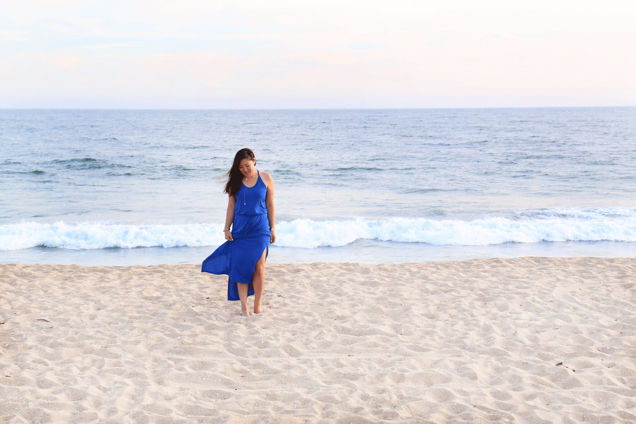 simplyxclassic, miriam gin, blue maxi dress, spring maxi dress, forever21 blue dress, beach, orange county, fashion blogger,