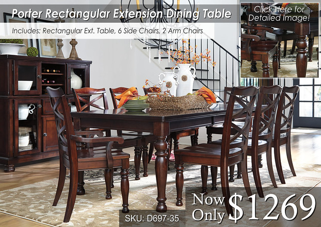 Porter Rect Ext Table 6 and 2 chairs