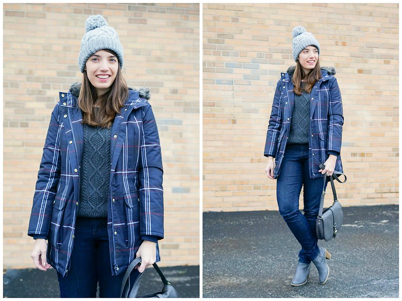 gray cable knit sweater + plaid Tommy Hilfiger coat + jeans + gray ankle boots and purse