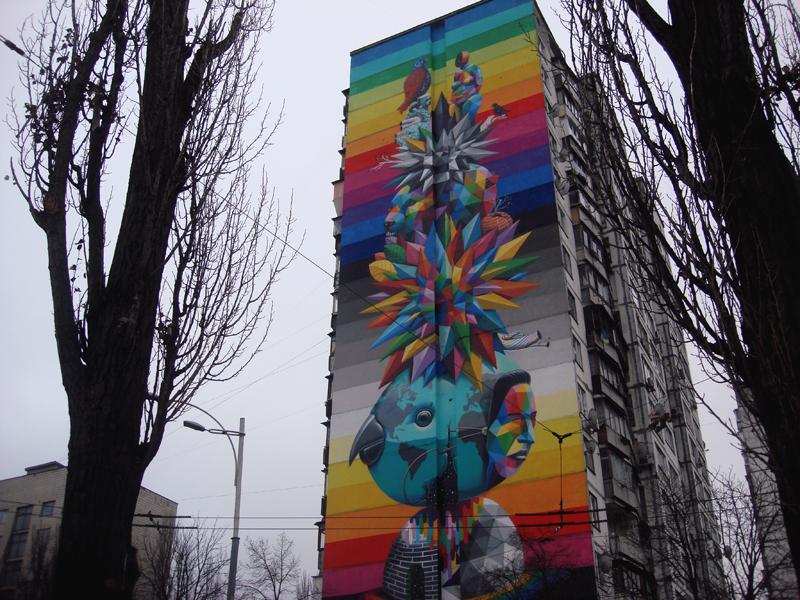 Kyiv street art mural by Okuda