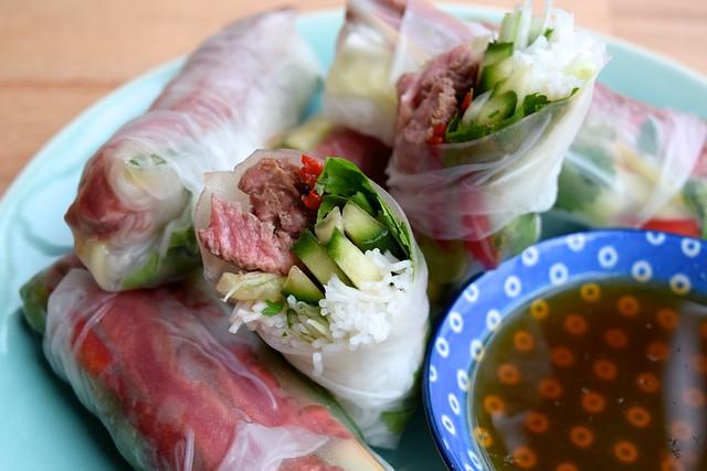 Vietnamese Steak Salad Summer Rolls | www.rachelphipps.com @rachelphipps