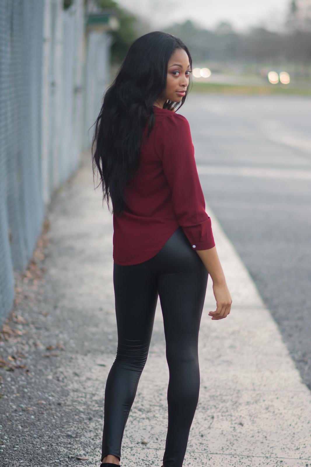 louisiana street style pu leather leggings