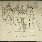 This 1562 elevation of Holt Castle is the oldest surviving drawing of Holt Castle. Although simpler, it is more accurate than the 1620 illustration. © British Library, Harley Ms, 2073, f.112