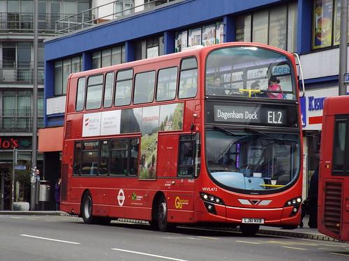 Go-Ahead London (Blue Triangle) WVL472, LJ61NXB in Barking on route EL2 to Dagenham Dock