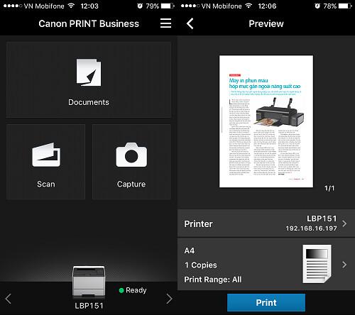 Giao diện ứng dụng Canon PRINT Business trên iPhone.