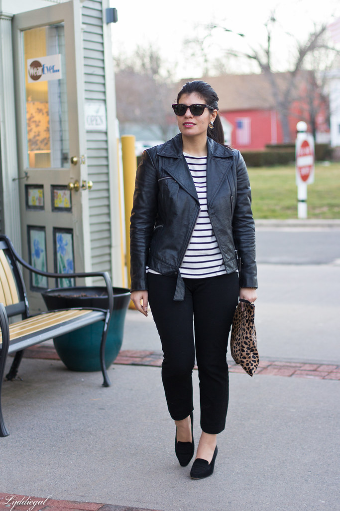 striped tee, black leather jacket, leopard clutch-1.jpg