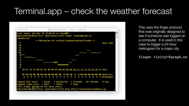 Terminal app - check the weather forecast