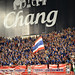 BANGKOK THAILAND NOV12: 2015 Unidentified fans of Thailand supporters during the Fifa World Cup Group F qualifying Match between Thailand and Chinese Taipei at Rajamangala Stadium in Thailand.
