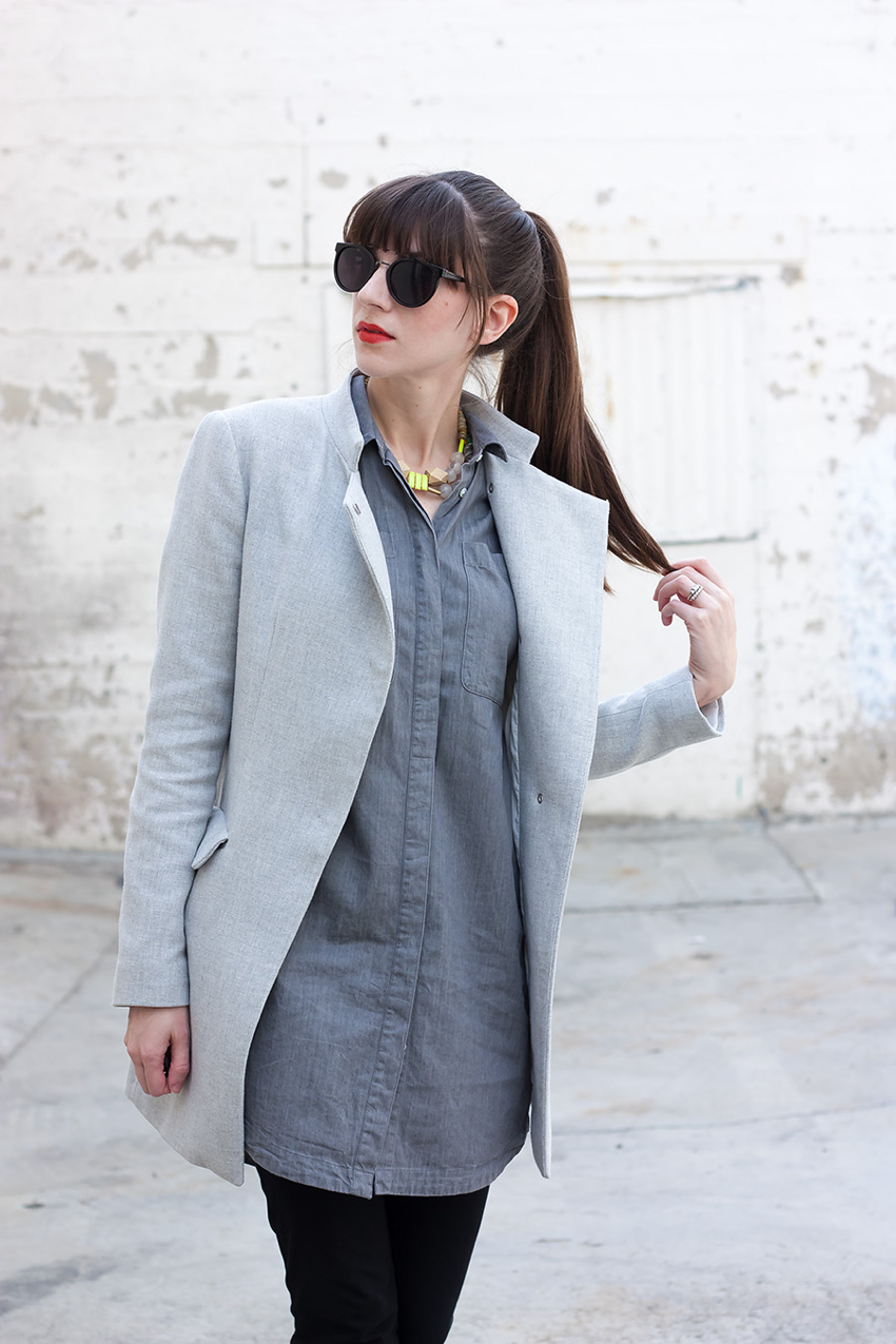 Zara Crossover Coat, Monochromatic Outfit