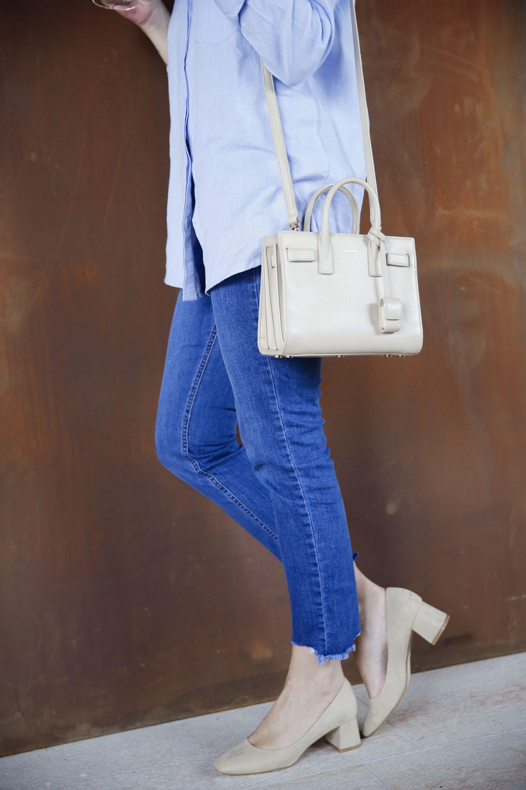 outfit look primavera spring camisa oxford zara calzedonia Yves saint laurent bolso bag prada sunglasses verona street style trendy taste_19
