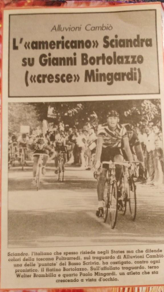 Sciandri vince ad Alluvioni Cambiò davanti a Bortolazzo, Brambilla e Mingardi (anno 1987)