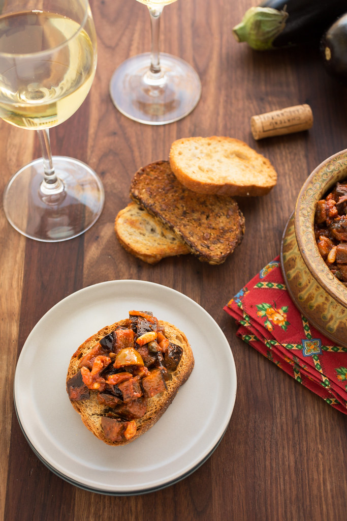 caponata on crostini toast