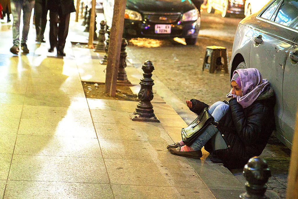 Young female beggar--Istanbul
