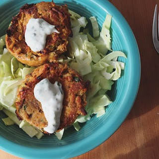 Leftover salmon cakes from making my lunch for the week were also my lunch for today.