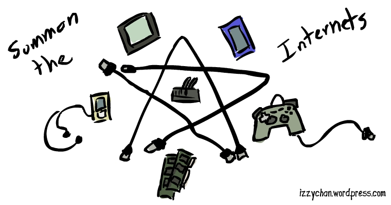 summon the internet with tech circle of old computer parts, smartphones, controllers, cables