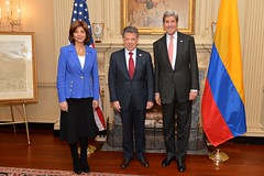 U.S. Secretary of State John Kerry, Colombian President Juan Manuel Santos, and Colombian Foreign Minister Maria Angela Holguin pose for a photo before their meeting at the U.S. Department of State in Washington, D.C., on February 5, 2016. [State Department photo/ Public Domain]