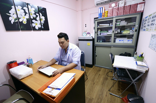 A caretaker at an HIV testing facility