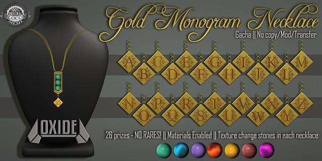 OXIDE Gold Monogram Necklace Gacha - No rares!