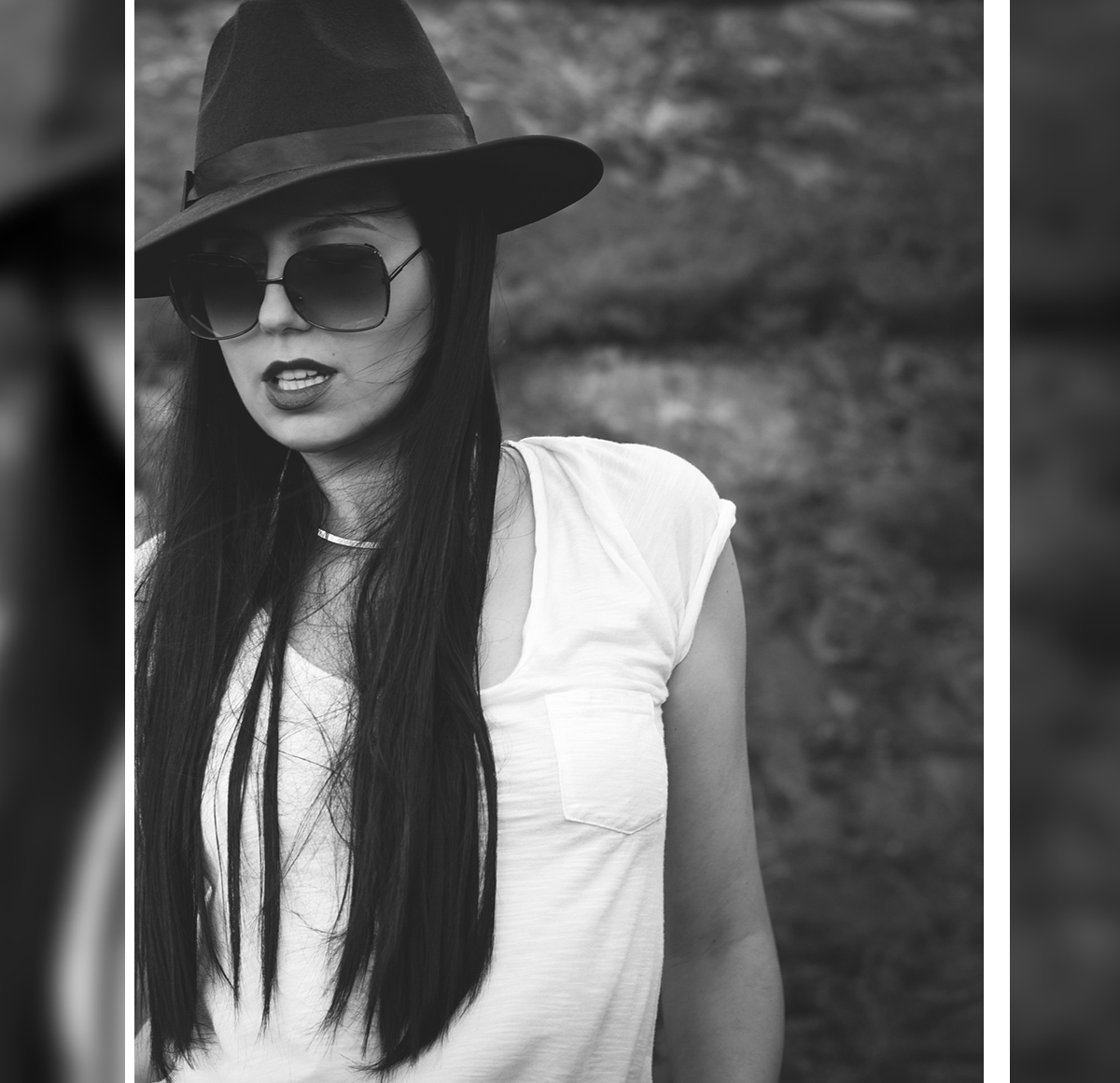 black-white-photography-model-fashion-blogger-long-sleek-straight-hair-hat-sunglasses-white-tshirt (2)