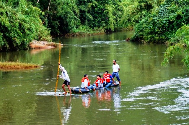 Bamboo Rafting Experience in Pozhuthana Wayanad