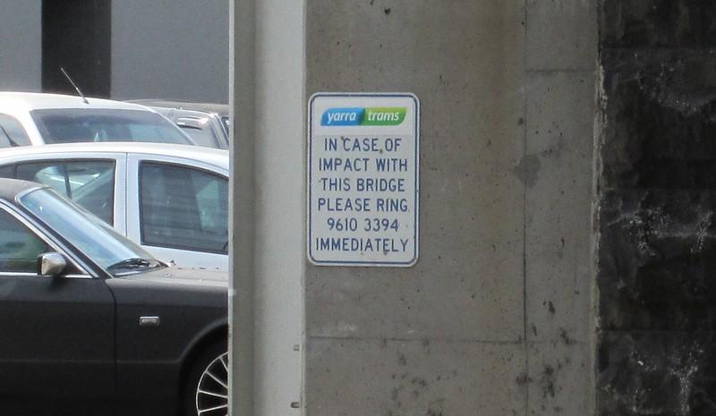 Sign on Montague St bridge