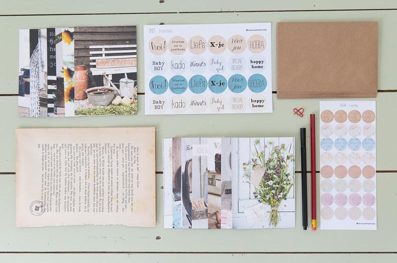 schrijfset basic brocante kaarten en schrijfwaren